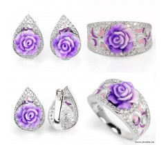Powder rose handmade & cz 925 silver enamel ring