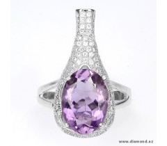 Ring, Metal – 925 silver (14k gold plated) Stone – Amethyst