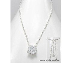 Necklace Metal: 925 Sterling Silver Decorated With: CZ