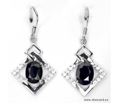 Sapphire (natural, diffusion) & cubic zirconia 14k white gold plated 925 silver earrings.