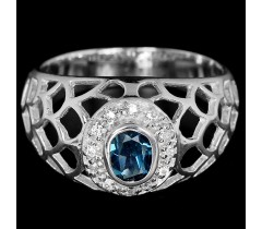 London Blue Topaz oval & white CZ sterling 925 silver ring.