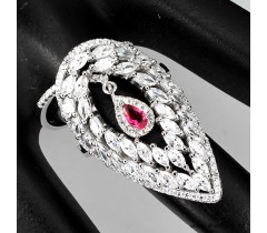 Pink, white cubic zirconia sterling 925 silver matching ring.