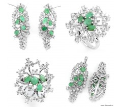 Emerald (Natural) & CZ 925 silver set: earrings + ring.