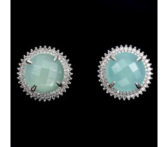 Natural 13mm blue dyed chalcedony-white CZ sterling 925 silver earrings.