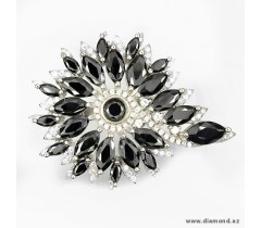Black, White cubic zirconia sterling 925 silver big ring.