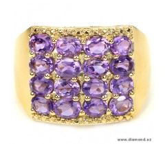 Purple amethyst oval facet 925 silver ring 14k yellow gold