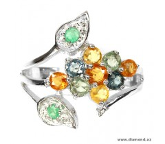 Natural fancy colors Sapphire & Emerald sterling 925 silver ring.