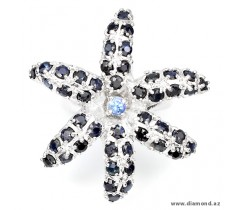 Natural top rich Blue Tanzanite & Black Sapphire 925 silver flower ring