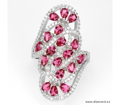 925 silver ring with pink, white CZ.