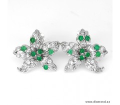 Natural green Aventurine and white cz sterling 925 silver flowers earrings.