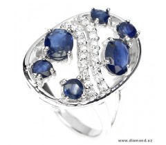 Natural top rich blue Sapphire and CZ sterling 925 silver ring.