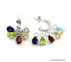 Amethyst, Mozambique Garnet, Peridot, Citrine & Topaz (natural) 14k white gold coating 925 silver earrings.