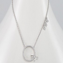 Necklace - Bow Metal: 925 Sterling Silver Decorated With: CZ