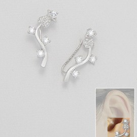 Ear Pins, 925 Sterling Silver Decorated With: CZ