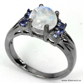 Natural fire blue luster moonstone & blue tanzanite 925 silver ring.