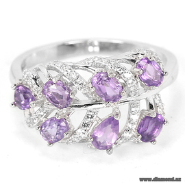 Purple Amethyst oval & white cz 925 silver ring.