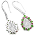 Pink Red Ruby Green Chrome Diopside & CZ sterling 925 silver earring.