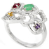 Genuine Emerald Columbian Ruby Citrine Amethyst CZ sterling 925 silver ring.
