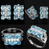 Swiss blue Topaz & white CZ 925 silver jewelry set: earring and ring.