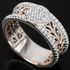 White CZ round sterling 925 silver 2-tone ring.