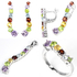 Amethyst, Garnet, Peridot, Citrine, Topaz sterling 925 silver jewelry set: earrings + pendant + ring.