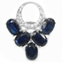 Blue Sapphire & white CZ 925 silver jewelry set: earring and ring.