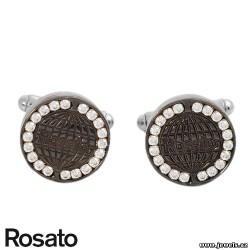 ROSATO Made in Italy Dazzling Brand New Cuff Links With 2.20ctw Cubic zirconia in Stainless steel.