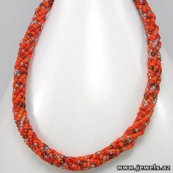 Necklace, Metal Zinc Beaded, With Seed Bead, Glass Bead